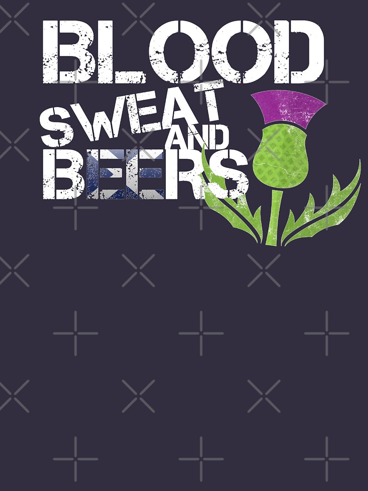 Blood Sweat Beers Scotland Flag Rugby Six Nations by thespottydogg
