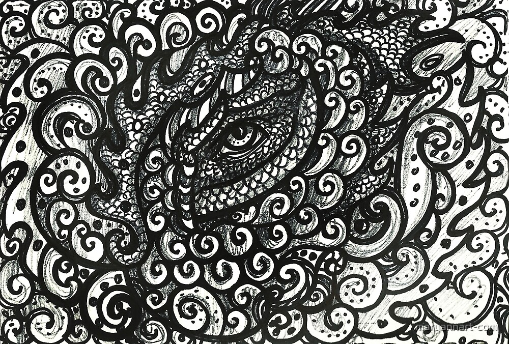 Black and White Eye Four by maryannart-com