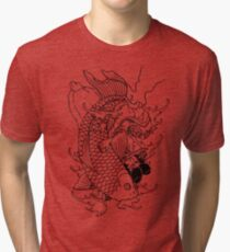 Japanese Warrior and Koi Tri-blend T-Shirt
