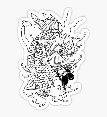 Japanese Warrior and Koi Sticker