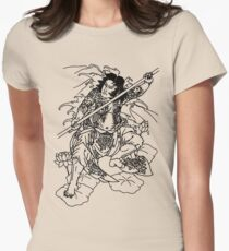 Japanese Warrior with Bo Women's Fitted T-Shirt