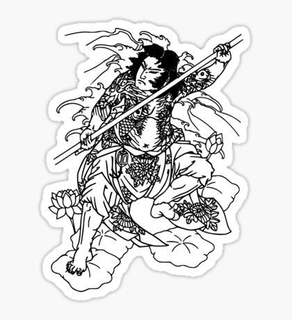 Japanese Warrior with Bo Sticker