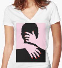 PINK KISS Pop Art Shirt mit V-Ausschnitt