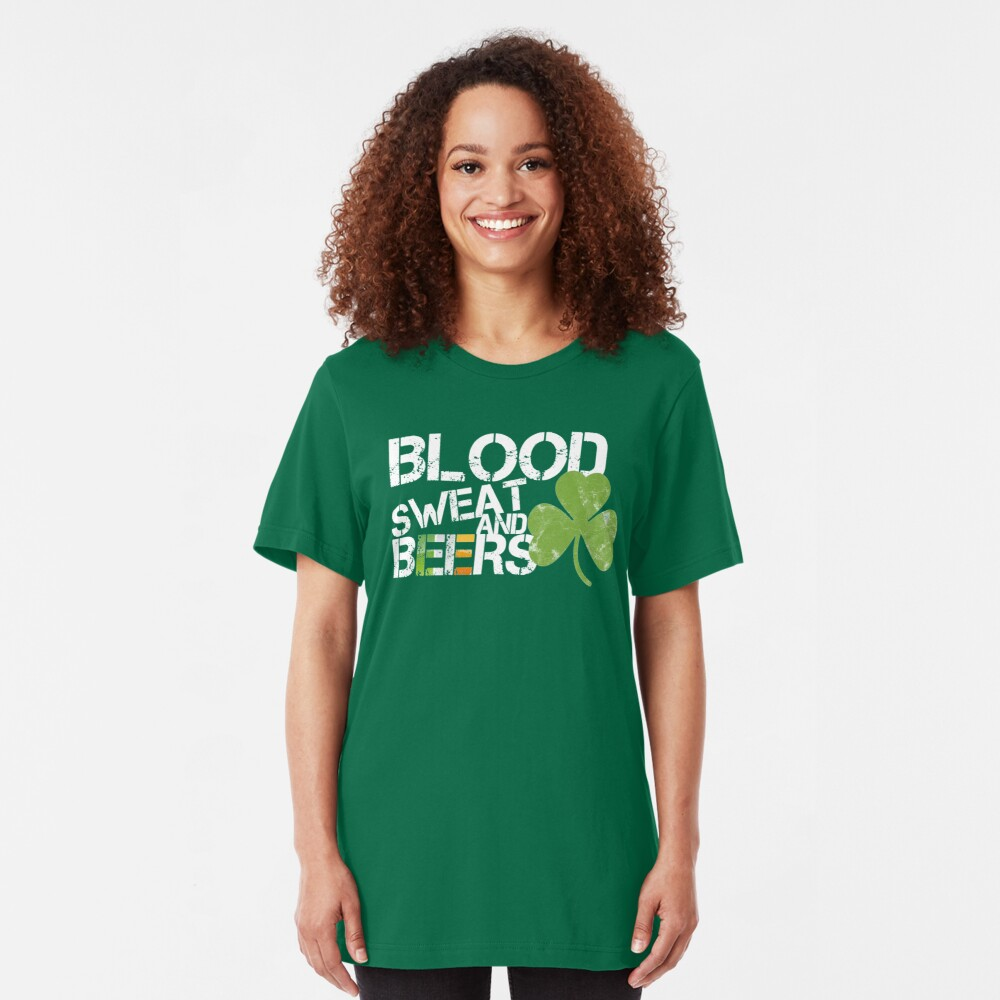 Blood Sweat Beers Ireland Flag Rugby Six Nations Slim Fit T-Shirt