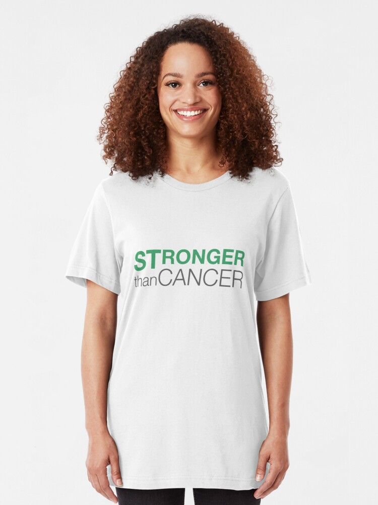 Alternate view of Stronger Than Cancer website logo Slim Fit T-Shirt