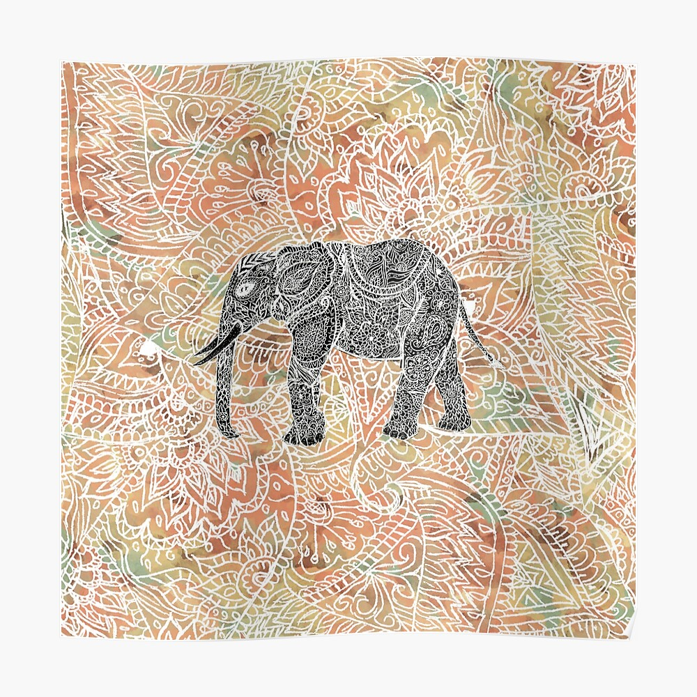 515125a9 Tribal Paisley Elephant Colorful Henna Pattern