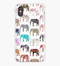 Girly Whimsical Retro Floral Elephants Pattern iPhone Case
