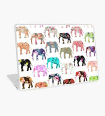 Girly Whimsical Retro Floral Elephants Pattern Laptop Skin