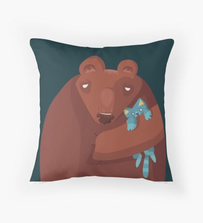 Sleepy bear Throw Pillow