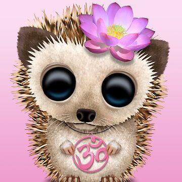 Bebé erizo zen con símbolo de yoga rosa om de JeffBartels