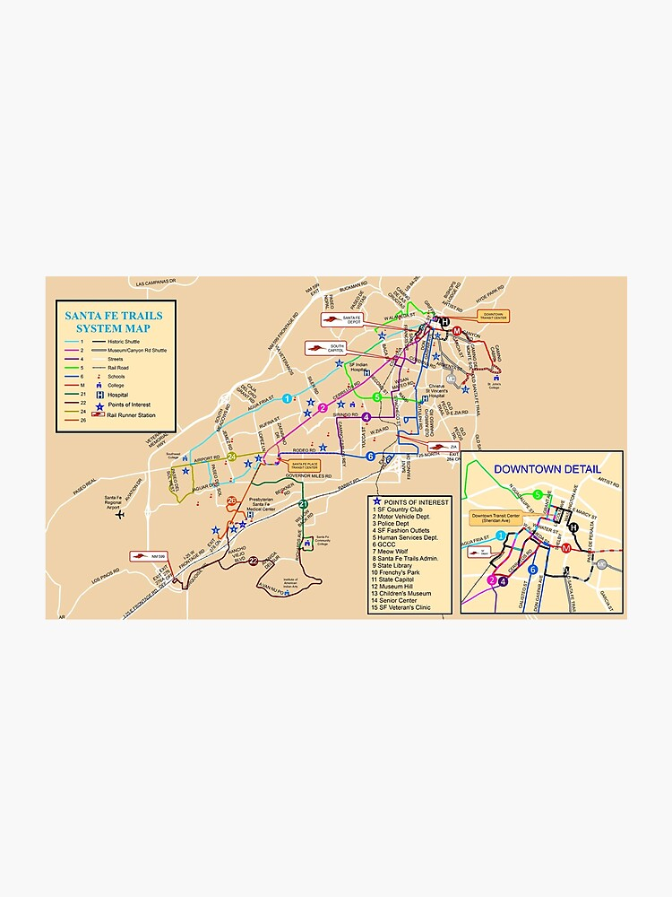Santa Fe System Map - USA | Photographic Print on paris museums map, contact us map, espanola map, clayton ok map, shopping map, philadelphia museums map, boston museums map, chicago museums map,