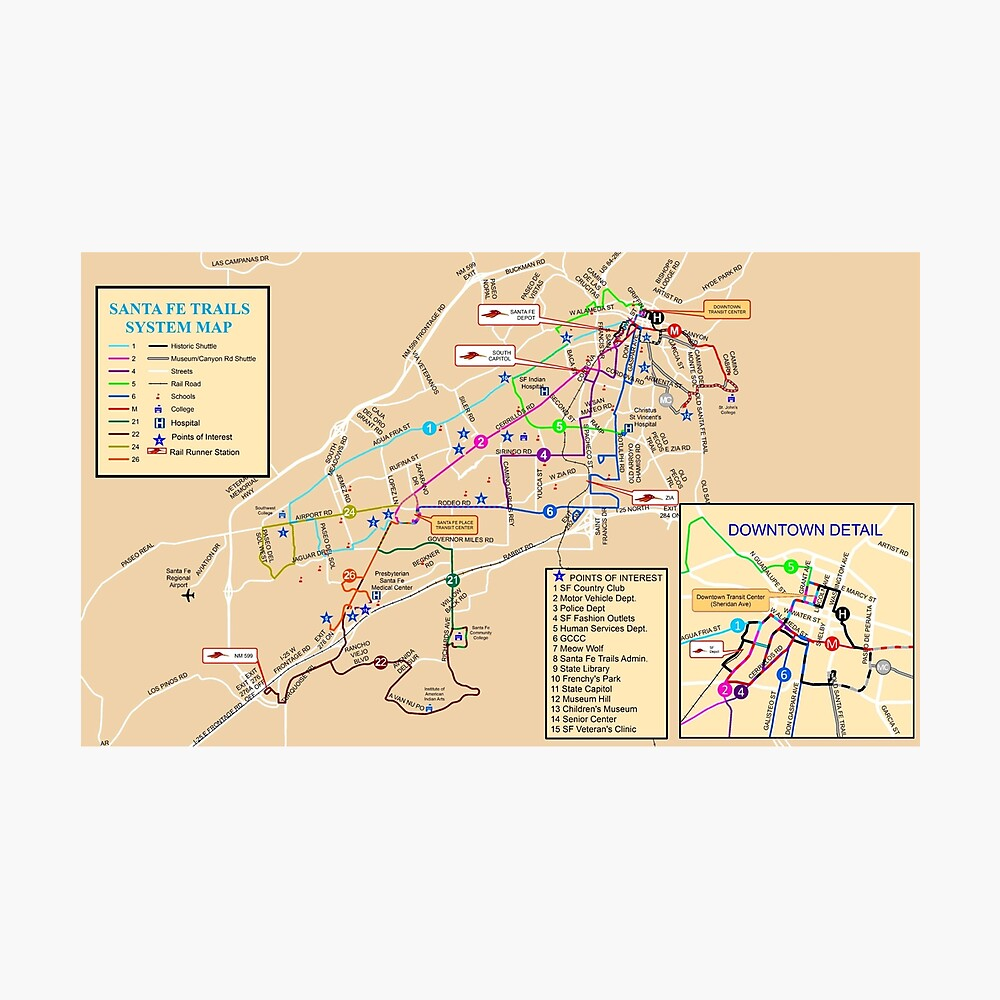 Santa Fe System Map - USA | Photographic Print on chicago museums map, clayton ok map, espanola map, paris museums map, shopping map, philadelphia museums map, boston museums map, contact us map,