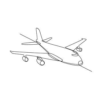 Jumbo Jet Plane Airliner Continuous Line by patrimonio