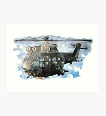 Helicopter Gunship with background  Art Print