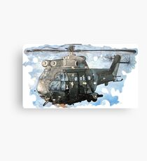 Helicopter Gunship with background  Metal Print