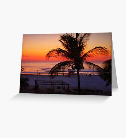 Tropical Beach Sunset Greeting Card