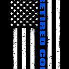 Pensionierter Polizeibeamter dünne blaue Linie amerikanische Flagge - Polizeigeschenk von bluelinegear