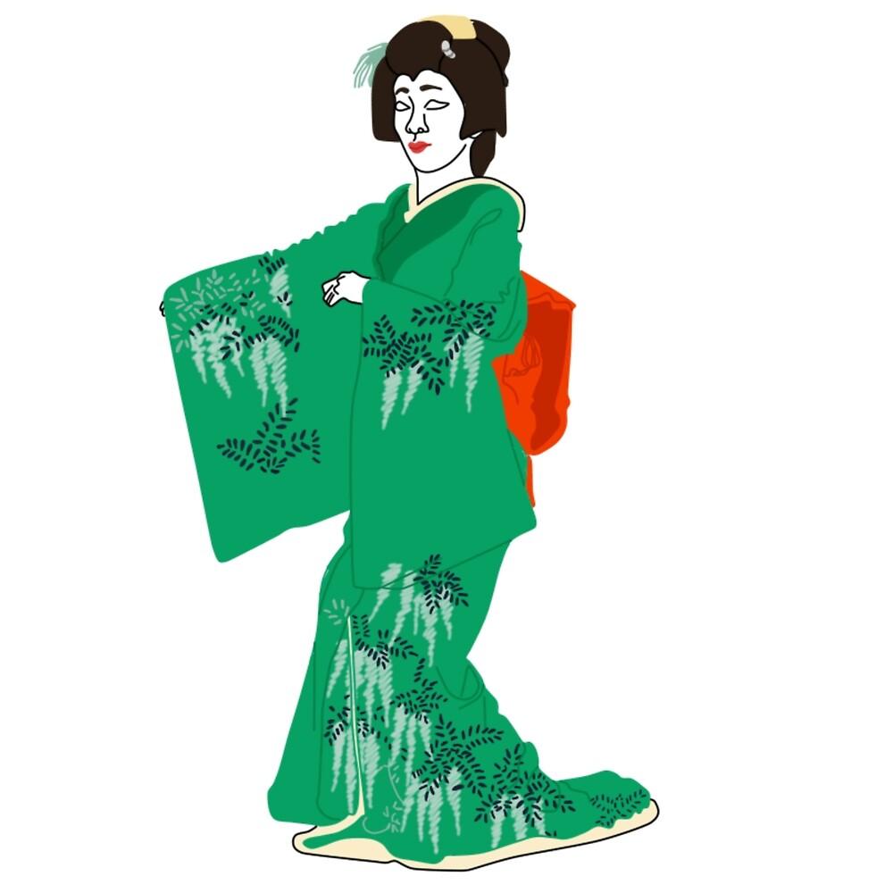 Japanese Wisteria Kimono Motif by KHRArts
