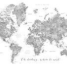 Oh Schatz, wohin als nächstes ... detaillierte Weltkarte in Graustufen-Aquarell von blursbyai