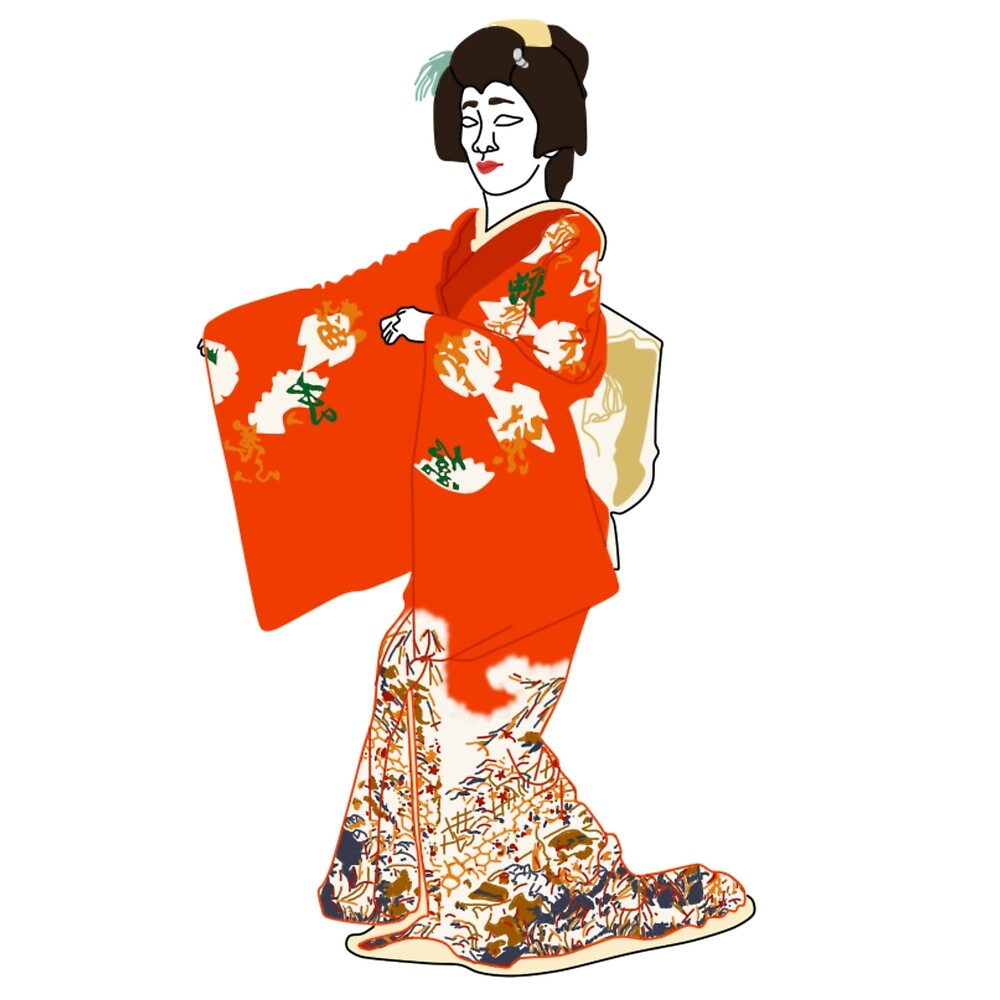 Old Palace Scenes Kimono Motif by KHRArts