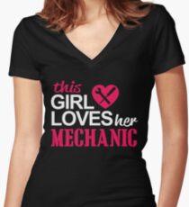 THIS GIRL LOVES HER MECHANIC Women's Fitted V-Neck T-Shirt