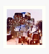 town with lights Art Print