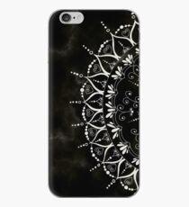 Black Floral Mandala Marble Pattern iPhone Case