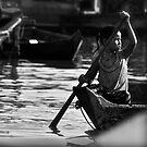 Cambodia Fishing Village - Girl on Lake by Julian Fulton-Boote