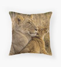 Lion Baby with Mother Throw Pillow