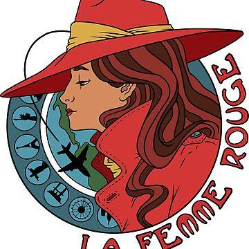 La Femme Rouge - Cramen Sandiego - Mucha Art Nouveau Style Portrait de Rvaya