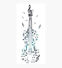 Blue Violin with Notes Photographic Print