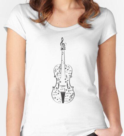 Violine mit Noten Tailliertes Rundhals-Shirt