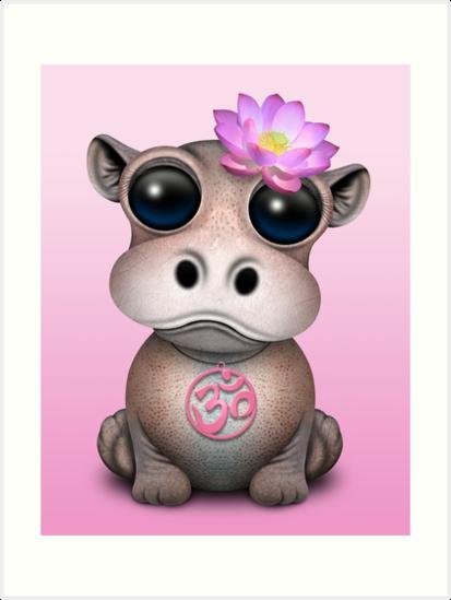 «Hipopótamo Zen Baby con símbolo de yoga rosa Om» de jeff bartels
