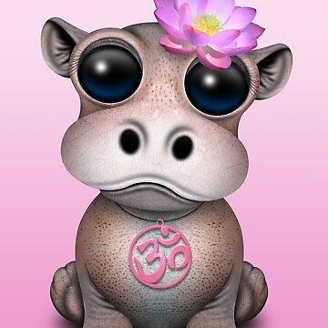 Hipopótamo Zen Baby con símbolo de yoga rosa Om de JeffBartels