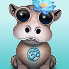 «Zen bebé hipopótamo con símbolo de yoga azul om» de jeff bartels