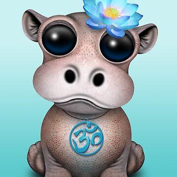 Zen bebé hipopótamo con símbolo de yoga azul om de JeffBartels