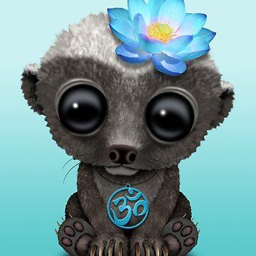 Tejón de miel zen con símbolo de yoga azul om de JeffBartels