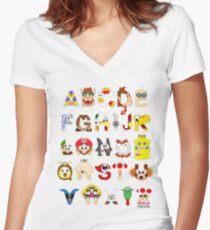 Super Mario Alphabet Women's Fitted V-Neck T-Shirt