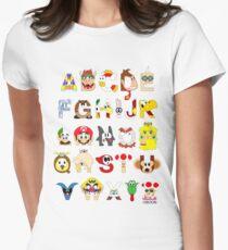 Super Mario Alphabet Womens Fitted T-Shirt