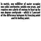 In metric, one milliliter of water occupies one cubic centimeter by digerati