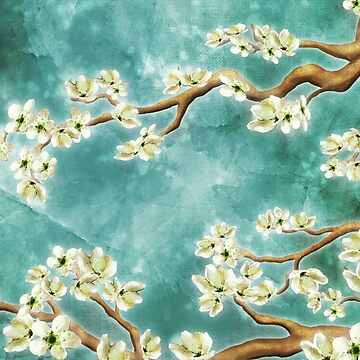 Tranquility Blossoms in Teal by jitterfly