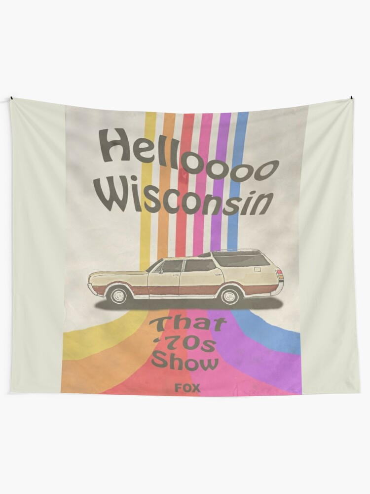 Alternate view of Hello Wisconsin Tapestry