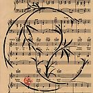 Remember - Sumie Enso Ink Brush Painting on Vintage Sheet Music - Irving Berlin by Rebecca Rees