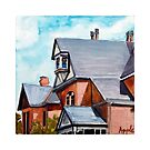 Brick Houses - watercolor/gouache plein air painting by LindaAppleArt