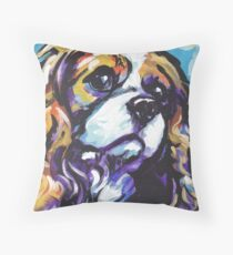 cavalier king charles spaniel Dog Bright colorful pop dog art Throw Pillow