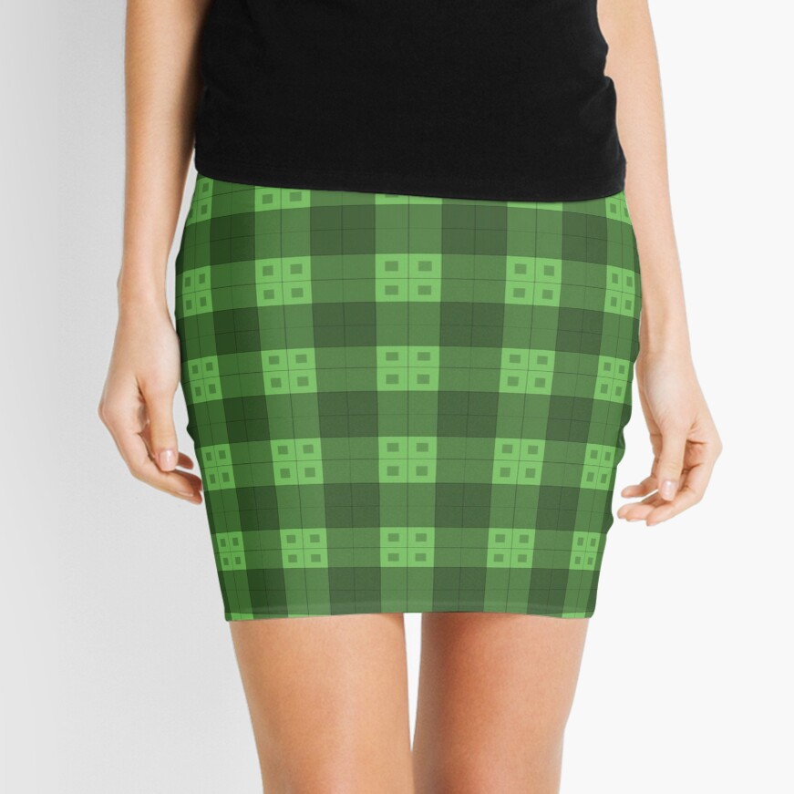 Geometric Pattern: Button Weave: Dark/Green Mini Skirt