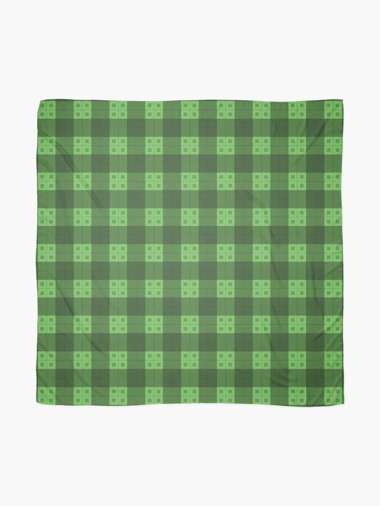 Alternate view of Geometric Pattern: Button Weave: Dark/Green Scarf