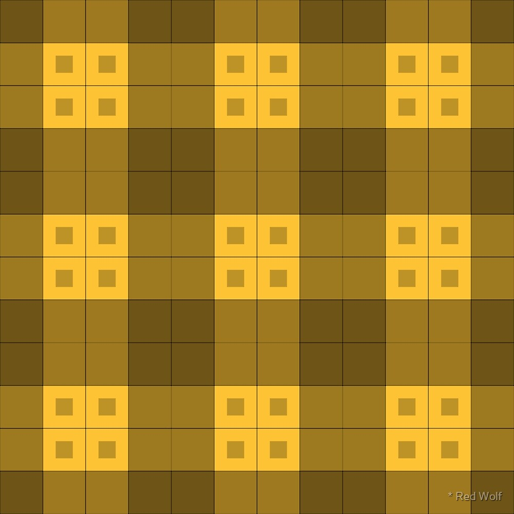 Geometric Pattern: Button Weave: Dark/Yellow by * Red Wolf