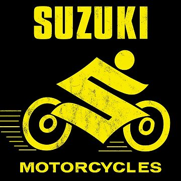 "Suzuki Motorcycles '60s ""Suzuki Man"" Vintage Race Rider Logo YELLOW (Distressed) by PissAndVinegar"