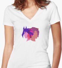 Arc V Ship Silhouette- Yuri/Dennis Women's Fitted V-Neck T-Shirt